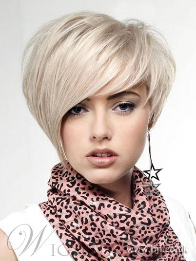 New Short Straight Hairstyle Trend 8 Inches Silver Charming Top Quality Natural 100% Human Real Wig