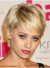 Celebrity Noble Hairstyle Golden 100% Human Hair Newest Short Wig