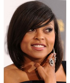 Super Sexy Taraji Custom Celebrity Hairstyle Medium Straight Natural Black Wig