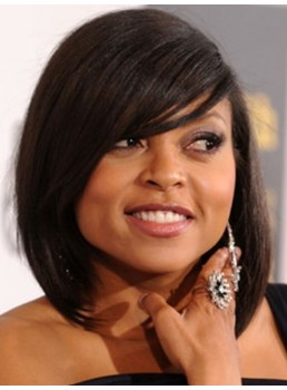 Taraji Celebrity Medium Straight Natural Black Synthetic Hair Capless Cap Wigs 12 Inches