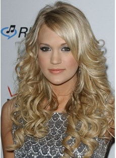 New Fabulous Fashion Carrie Underwood Hairstyle Long Wavy Blonde Lace Wig 20 Inches