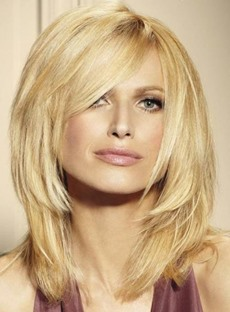 New Arrival Chic Medium Stright Light Blonde Lace Front Wig 14 Inches