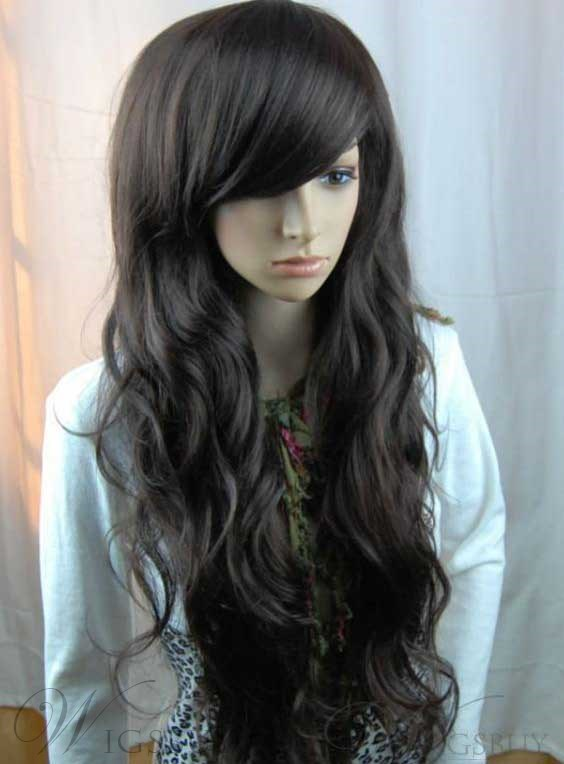 100% Human Hair High Quanlity Long Wavy Natural Black Wig 26 Inches For Sexy Lady