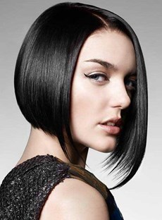 100% Human Hair The Super Sexy Bob Hairstyle Natural Black Lace Front Wig For Sexy Lady