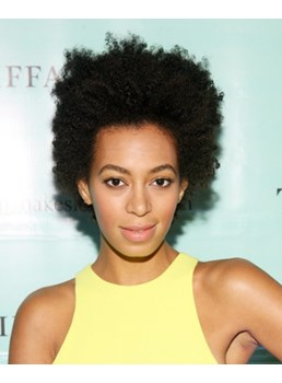 100% Human Hair Super Cool Solange Knowles Hairstyle Short Curl Natural Black Full Lace Wig
