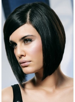 Super Sexy Bob Hairstyle Medium Straight Lace Front Wig For Sexy Lady