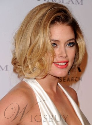 New Arrival Custom Celebrity Loose Wavy Bob Hairstyle 12 Inches Lace Front Wig 100% Human Hair
