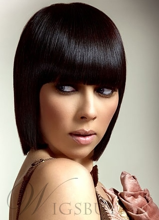 The Fashion Bob Hairstyle Natural Black Wig 10 Inches For A Fashion Girl