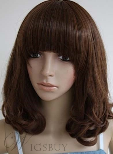 The Stunning Shoulder Length Wavy Wig For Bringing A Fresh Feeling 100% Human Hair 12 Inches