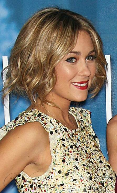 New Custom Celebrity Charming Wavy Bob Hairstyle Lace Front Wig