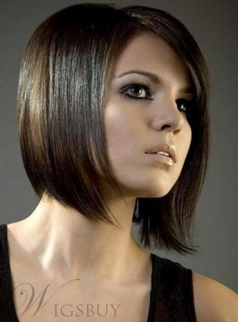 Attractive New Fashion Hair Style Dark Auburn Straight Wig 100% Human Hair Lace Front