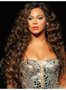100% Human Hair Beyonce Knowles's Hairstyle Super Exquisite Long Curly Brown Hand Tied Full Lace Wig 24 Inches