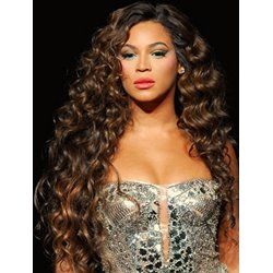 100% Human Hair Beyonce Knowless Hairstyle Super Exquisite Long Curly Brown Hand Tied Full Lace Wig 24 Inches