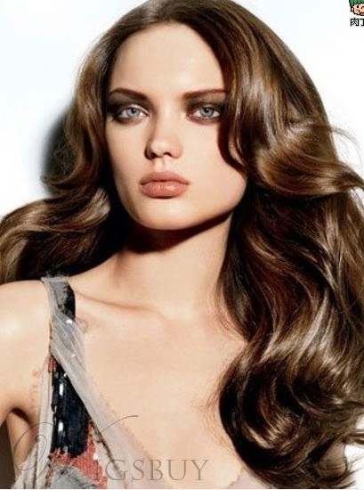 Perfect Long Wavy Brown 22 Inches Best Quality Super Smooth Natural Full Lace Wig 100% Human Hair
