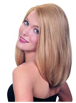 Super Charming Long Straight Natural Blonde Glueless Lace Front Wig 14 Inches 100% Human Hair