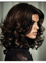 Super Charming Black Medium Wavy Full Lace Wig 14 Inches Make You More Impressive 100% Human Hair