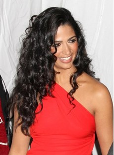 Amazing Celebrity Hairstyle Long Curly Black Lace Wig 100% Human Hair 22 Inches