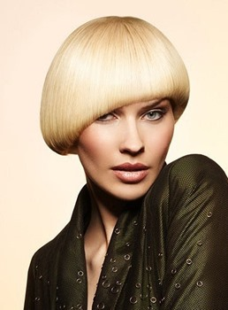 Mushroom Hair Bob Hairstyle Short Straight Wig with Asymmetric Cut