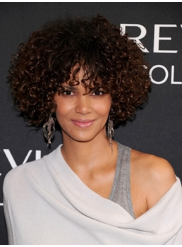 Halle Berry Hairstyle Super Charming Afro Medium Curl Lace Front Wig 100% Human Hair 14 Inches