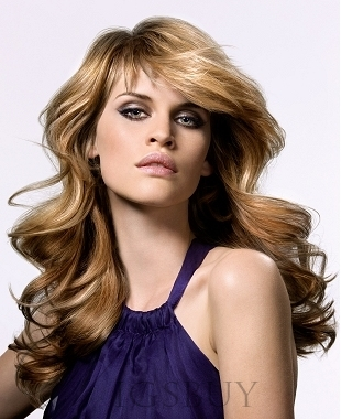 Fashionable Celebrity Hairstyle Long Wavy Wig 20 Inches 100% Human Hair