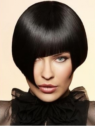 Cut Bob Hairstyle with Unique Fringe Short Silky Straight Black Wig Makes You Cool