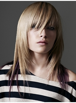 Layered Cut Long Straight Capless Full Bang Synthetic Wigs 18 Inches