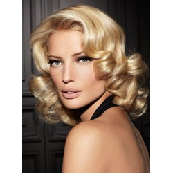 100% Human Hair Stylish Retro Party Hairstyle Medium Golden Full Lace Wig 14 Inches