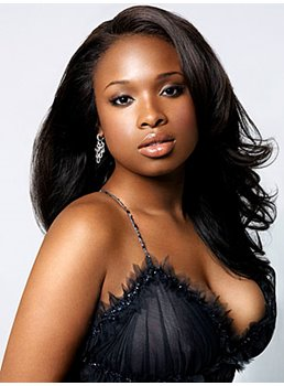 Charming Jennifer Hudson Hairstyle Custom The Celebrity Long Wavy Black Full Lace Wig 18 Inches 100% Human Hair Indescribable Sexy