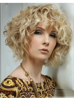 100% Human Hair New Fashion High Quality Special Cool Medium Curly Blonde Wig 10 Inches