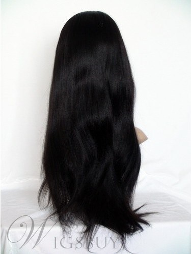 Super Charming Long Smooth Yaki Straight Black Lace Front Wig 20 Inches 100% Indian Remy Human Hair