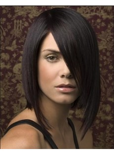 Medium Straight Bob Lace Front Wigs 12 Inches Human Hair