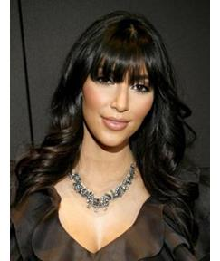 Kim Kardashian Human Hair Long Wavy Full Bang Capless Wigs 20 Inches