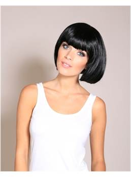 Smart Hairstyle Custom Short Silky Black Bob Black Wig 10 Inches With Blunt Fringe hair Cut
