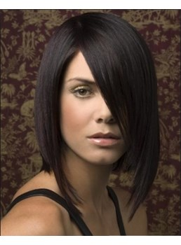 New Arrival Medium Silky Straight Lace Bob Wig 12 Inches With Specially Designed Hair Cut 100% Human Hair Leading Black Fashion