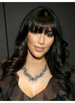 Kim Kardashian Human Hair Long Wavy Full Bang Capless Wigs
