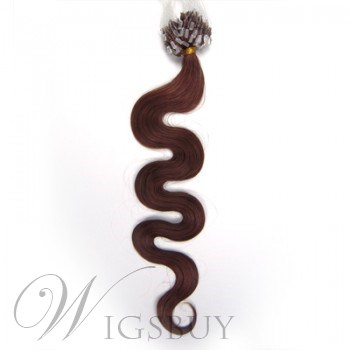 Human Hair Dark Auburn(#33) 100S Wavy Micro Loop Human Hair Extensions