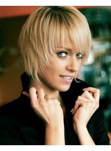 Fascinating Smart Cute Short Straight Blonde Wig 8 Inches