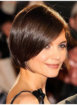 Katie Holmes Human Hair Short Straight Bob Hairstyle Lace Front Wigs 8 Inches