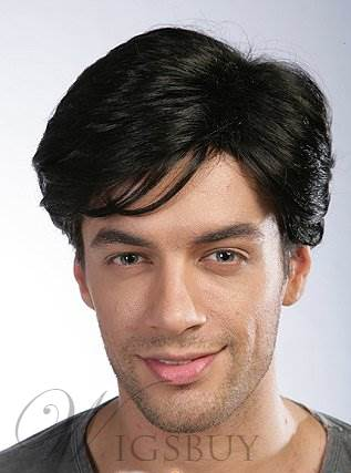 New Fashion Cool Short Straight Black Human Hair Mono Top Wig Men's Hairstyle