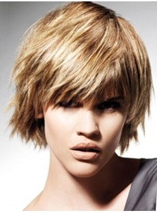Smart Short Choppy Hairstyle Straight Blonde Wig