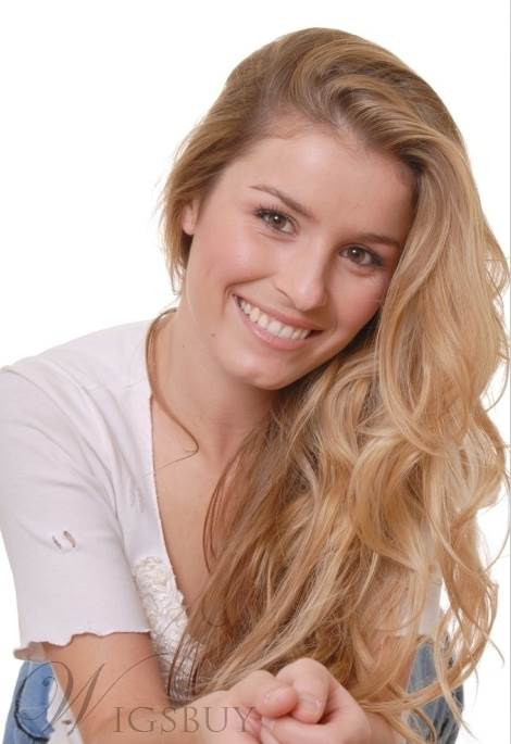 Hip Sweet Charming Long Wavy Blonde Full Lace Wig 100% Human Hair 18 Inches