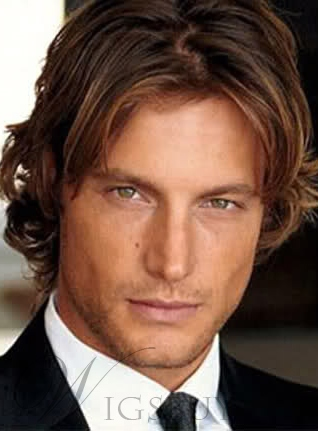 Human Hair New Popular Cool Man Hairstyle Short Wavy Brown Lace Wig
