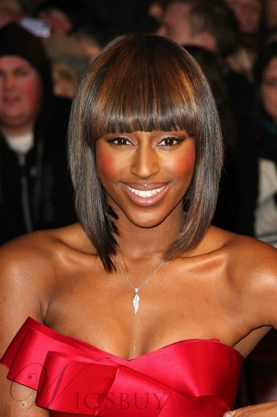 New Arrival Chic Smooth African American Hairstyle Medium Straight Brown Wig 100% Human Hair 10 Inches