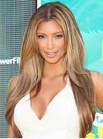 Kim Kardashian Glamorous Long Straight Blonde Full Lace Wig 100% Human Hair 20 Inches