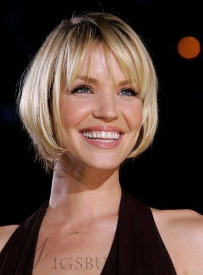 Short Bob Hairstyle Straight Human Hair With Bangs Lace Front Wig 8 Inches
