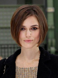 Stylish Graceful Bob Hairstyle Medium Straight Remy Hair Brown Lace Wig 100% Human Hair 10 Inches