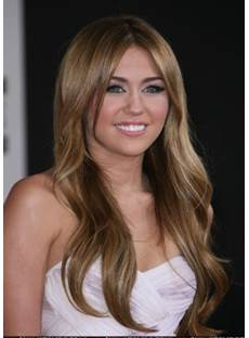 Miley Cyrus Human Hair Long Wavy Full Lace Wigs 20 Inches