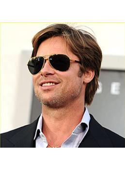 New Arrival Chic Attractive Brad Pitt Hairstyle Short Straight Brown Full Lace Wig 100% Human Hair 6 Inches