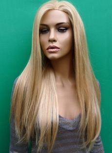 New Boutique Charming Long Silky Straight Blonde Full Lace Wig 100% Human Remy Hair 22 Inches