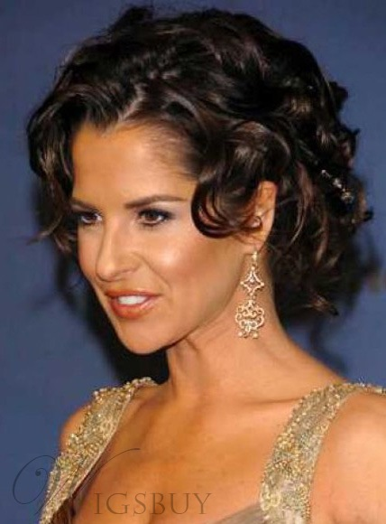 Gorgeous Fascinating Short Curly Brown Full Lace Wig 100% Human Hair 10 Inches
